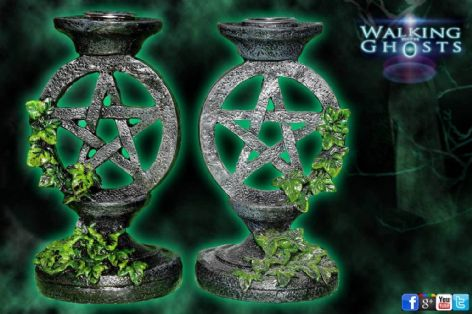 2x Pentagram Candlesticks Candle Holder Gothic Goth Alter Magick Wicca UK